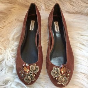 Kelsi Dagger Suede Jeweled Flats